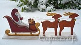 Wooden Santa with his Sleigh and Reindeer plans