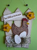 Wooden Country Door Sign with Hen and Eggs plans